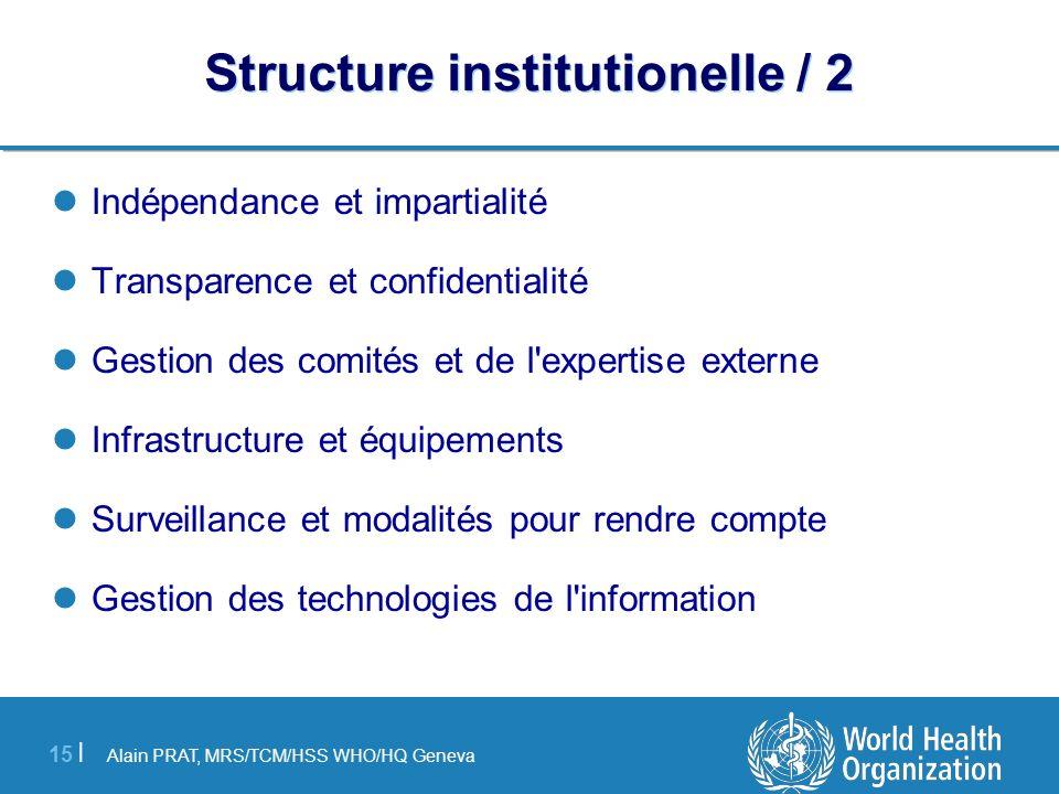 Alain PRAT, MRS/TCM/HSS WHO/HQ Geneva 15 | Structure institutionelle / 2 Indépendance et impartialité Transparence et confidentialité Gestion des comi