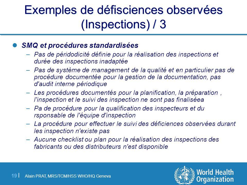 Alain PRAT, MRS/TCM/HSS WHO/HQ Geneva 19 | Exemples de défisciences observées (Inspections) / 3 SMQ et procédures standardisées –Pas de péridodicité d