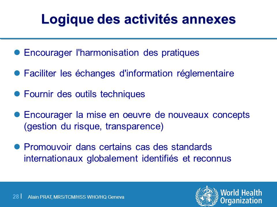 Alain PRAT, MRS/TCM/HSS WHO/HQ Geneva 28 | Logique des activités annexes Encourager l'harmonisation des pratiques Faciliter les échanges d'information
