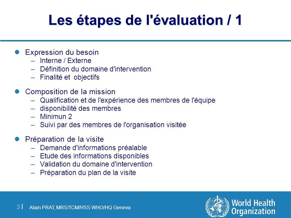 Alain PRAT, MRS/TCM/HSS WHO/HQ Geneva 3 |3 | Les étapes de l'évaluation / 1 Expression du besoin –Interne / Externe –Définition du domaine d'intervent