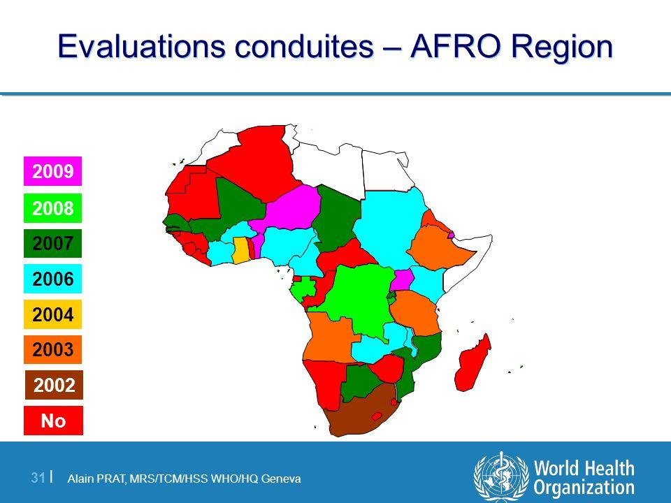 Alain PRAT, MRS/TCM/HSS WHO/HQ Geneva 31 | Evaluations conduites – AFRO Region 2008 2007 2006 2004 2003 No 2002 2009