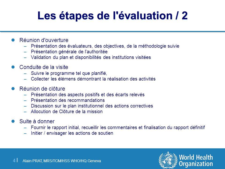 Alain PRAT, MRS/TCM/HSS WHO/HQ Geneva 4 |4 | Les étapes de l'évaluation / 2 Réunion d'ouverture –Présentation des évaluateurs, des objectives, de la m