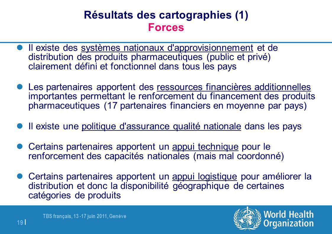 TBS français, 13 -17 juin 2011, Genève 19 | Résultats des cartographies (1) Forces Il existe des systèmes nationaux d'approvisionnement et de distribu