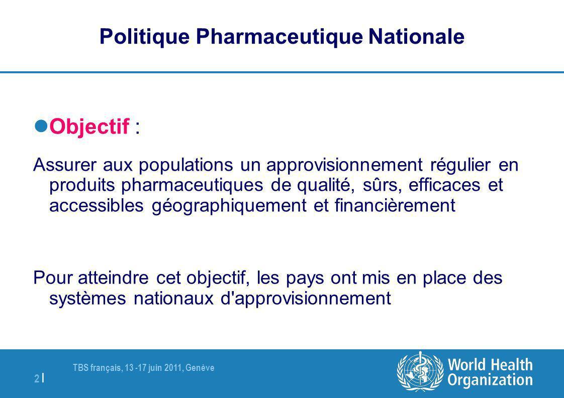 TBS français, 13 -17 juin 2011, Genève 2 | Politique Pharmaceutique Nationale Objectif : Assurer aux populations un approvisionnement régulier en prod