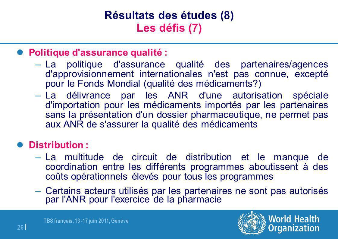TBS français, 13 -17 juin 2011, Genève 26 | Résultats des études (8) Les défis (7) Politique d'assurance qualité : –La politique d'assurance qualité d