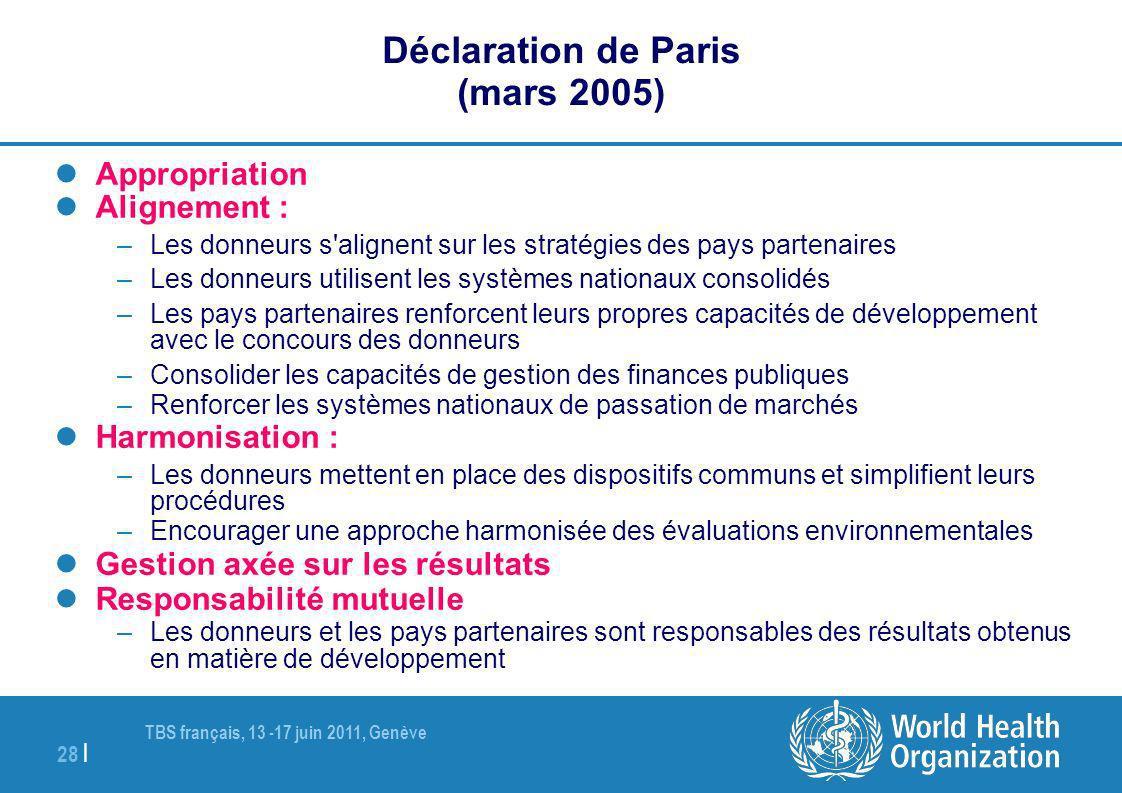 TBS français, 13 -17 juin 2011, Genève 28 | Déclaration de Paris (mars 2005) Appropriation Alignement : –Les donneurs s'alignent sur les stratégies de