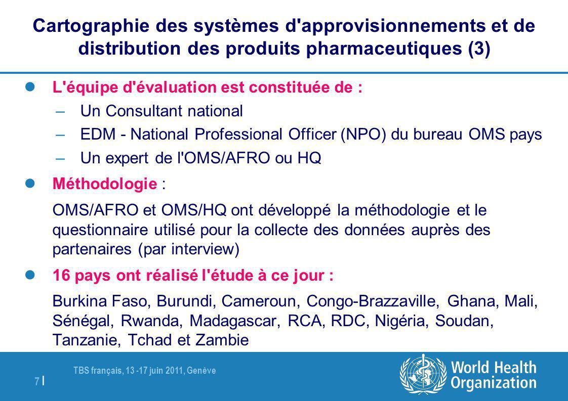 TBS français, 13 -17 juin 2011, Genève 7 | L'équipe d'évaluation est constituée de : –Un Consultant national –EDM - National Professional Officer (NPO