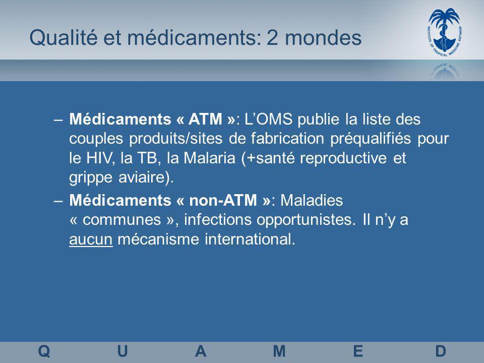 Qualité et médicaments: 2 mondes –Médicaments « ATM »: LOMS publie la liste des couples produits/sites de fabrication préqualifiés pour le HIV, la TB, la Malaria (+santé reproductive et grippe aviaire).