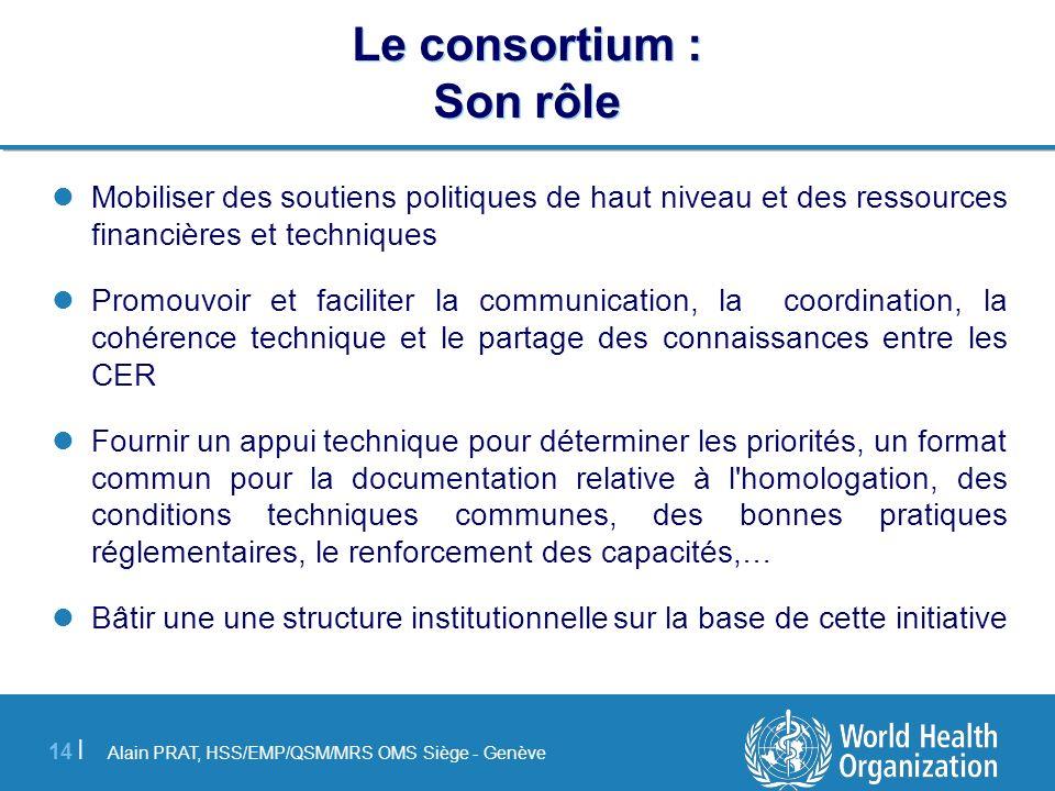 Alain PRAT, HSS/EMP/QSM/MRS OMS Siège - Genève 14 | Le consortium : Son rôle Mobiliser des soutiens politiques de haut niveau et des ressources financ