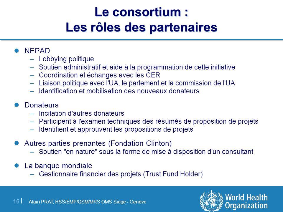Alain PRAT, HSS/EMP/QSM/MRS OMS Siège - Genève 16 | Le consortium : Les rôles des partenaires NEPAD –Lobbying politique –Soutien administratif et aide