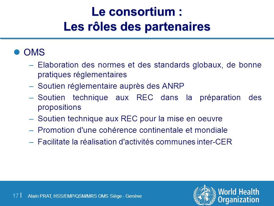 Alain PRAT, HSS/EMP/QSM/MRS OMS Siège - Genève 17 | Le consortium : Les rôles des partenaires OMS –Elaboration des normes et des standards globaux, de