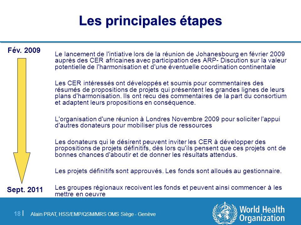 Alain PRAT, HSS/EMP/QSM/MRS OMS Siège - Genève 18 | Les principales étapes Le lancement de l'intiative lors de la réunion de Johanesbourg en février 2