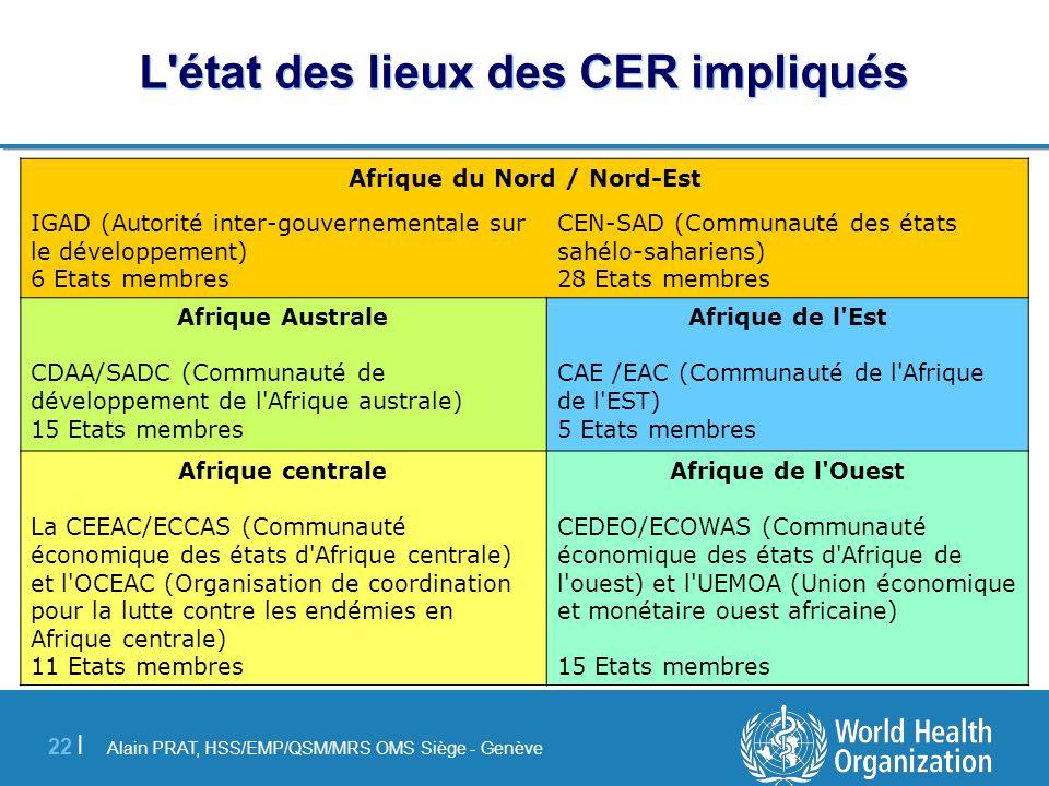 Alain PRAT, HSS/EMP/QSM/MRS OMS Siège - Genève 22 | L'état des lieux des CER impliqués Afrique du Nord / Nord-Est CEN-SAD (Communauté des états sahélo