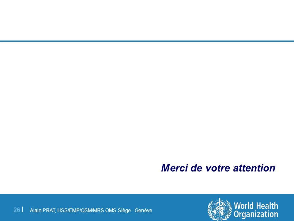 Alain PRAT, HSS/EMP/QSM/MRS OMS Siège - Genève 26 | Merci de votre attention
