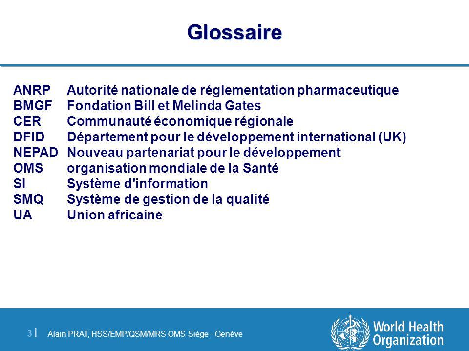 Alain PRAT, HSS/EMP/QSM/MRS OMS Siège - Genève 3 |3 | Glossaire ANRPAutorité nationale de réglementation pharmaceutique BMGFFondation Bill et Melinda