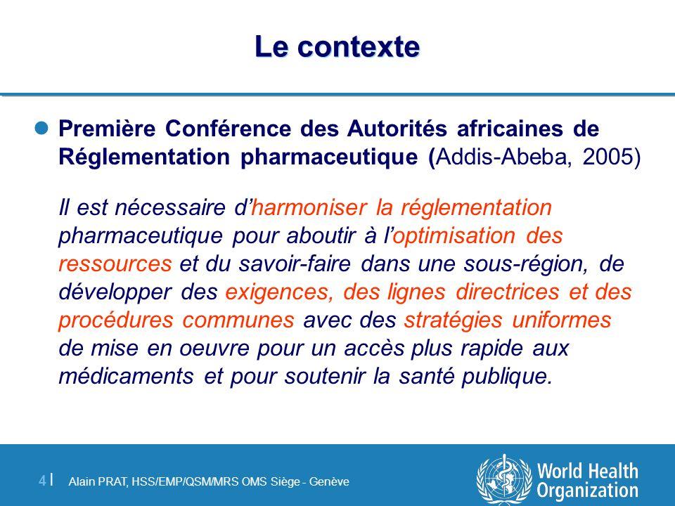 Alain PRAT, HSS/EMP/QSM/MRS OMS Siège - Genève 4 |4 | Le contexte Première Conférence des Autorités africaines de Réglementation pharmaceutique (Addis