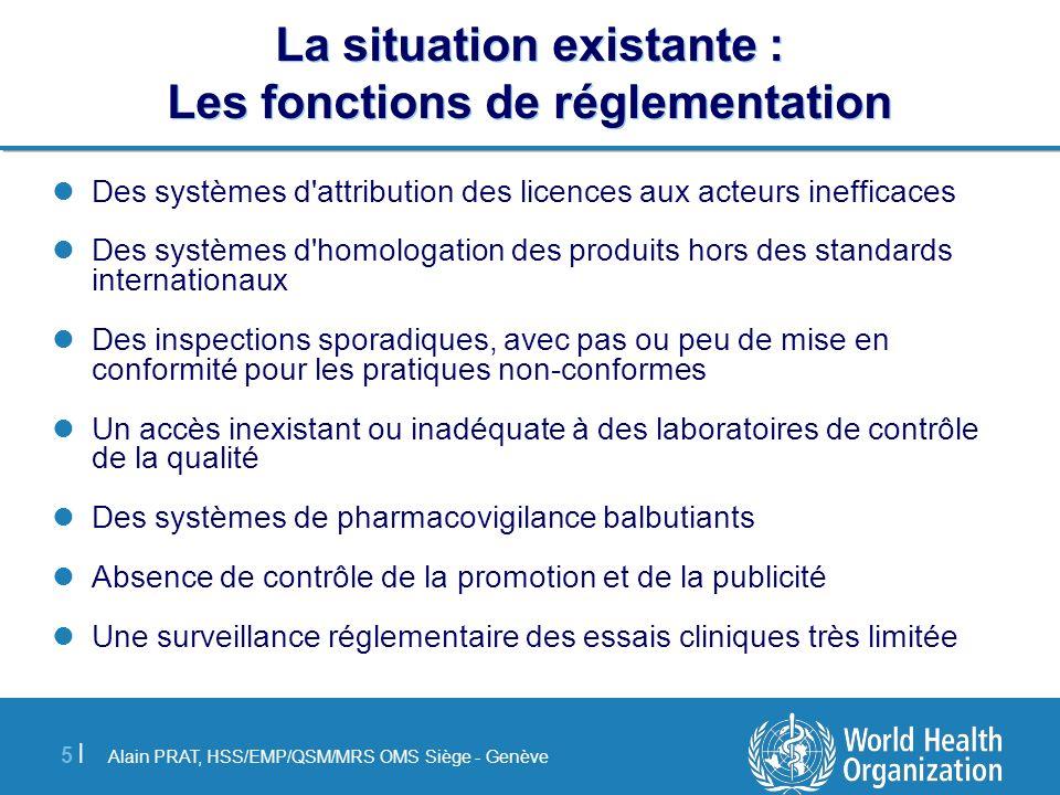 Alain PRAT, HSS/EMP/QSM/MRS OMS Siège - Genève 5 |5 | La situation existante : Les fonctions de réglementation Des systèmes d'attribution des licences