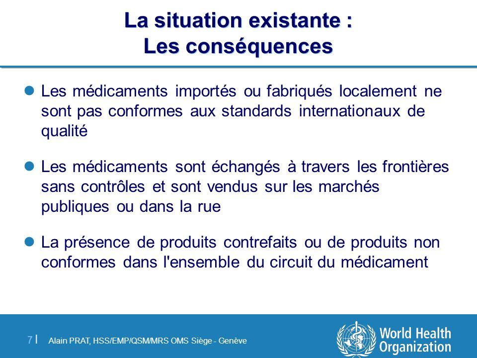 Alain PRAT, HSS/EMP/QSM/MRS OMS Siège - Genève 7 |7 | La situation existante : Les conséquences Les médicaments importés ou fabriqués localement ne so