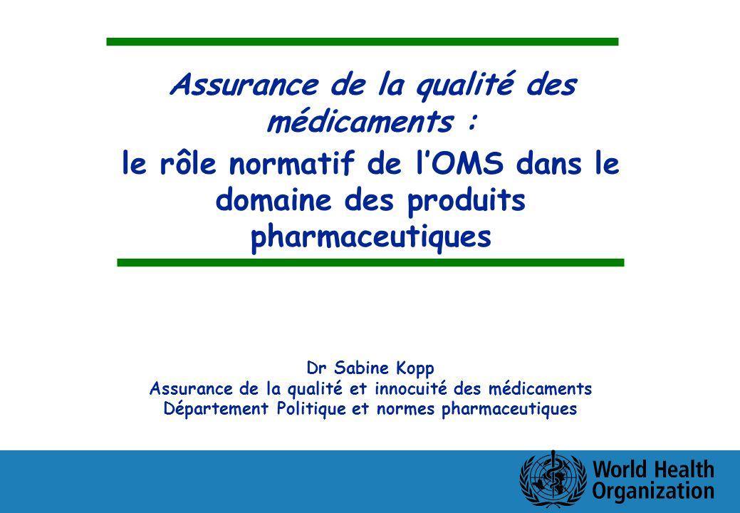 Assurance de la qualité des médicaments : le rôle normatif de lOMS dans le domaine des produits pharmaceutiques Dr Sabine Kopp Assurance de la qualité