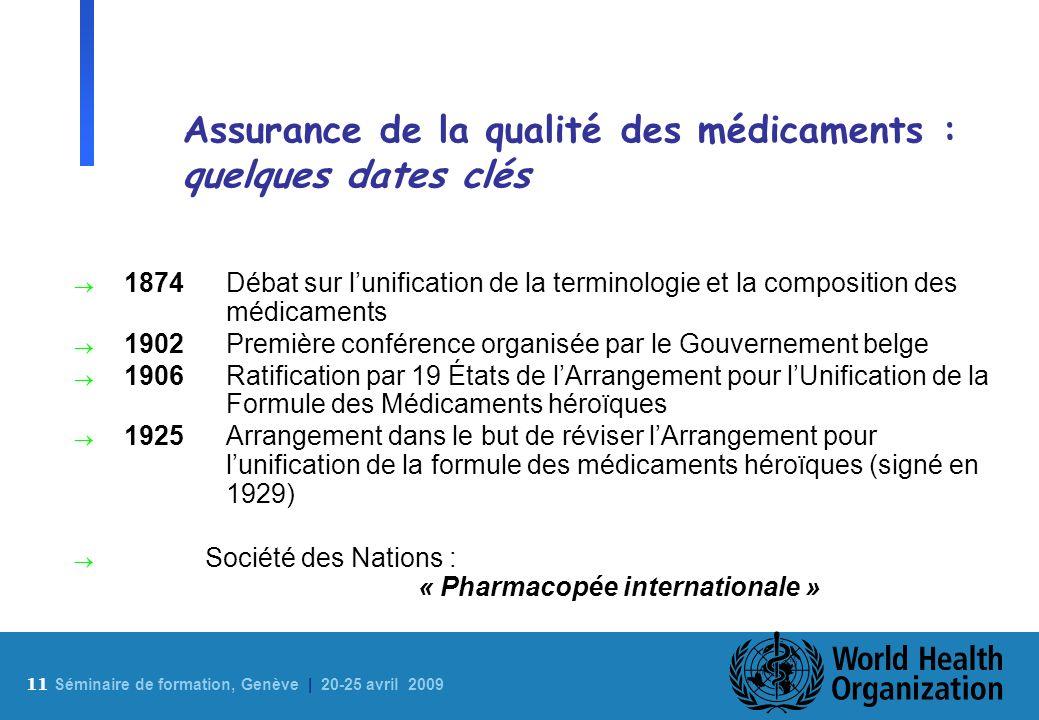 11 S éminaire de formation, Genève | 20-25 avril 2009 Assurance de la qualité des médicaments : quelques dates clés 1874Débat sur lunification de la t
