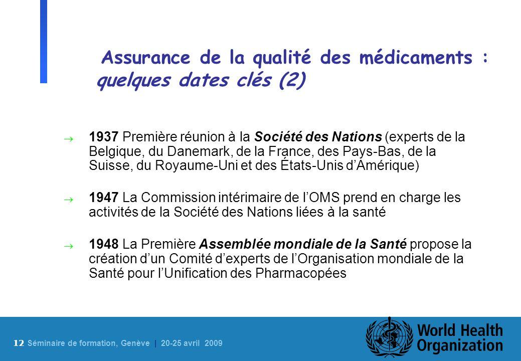 12 S éminaire de formation, Genève | 20-25 avril 2009 Assurance de la qualité des médicaments : quelques dates clés (2) 1937 Première réunion à la Soc