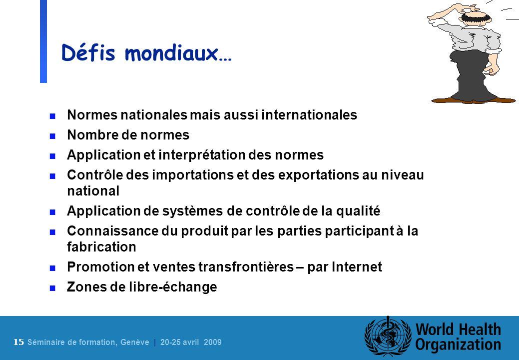 15 S éminaire de formation, Genève | 20-25 avril 2009 Défis mondiaux… n Normes nationales mais aussi internationales n Nombre de normes n Application