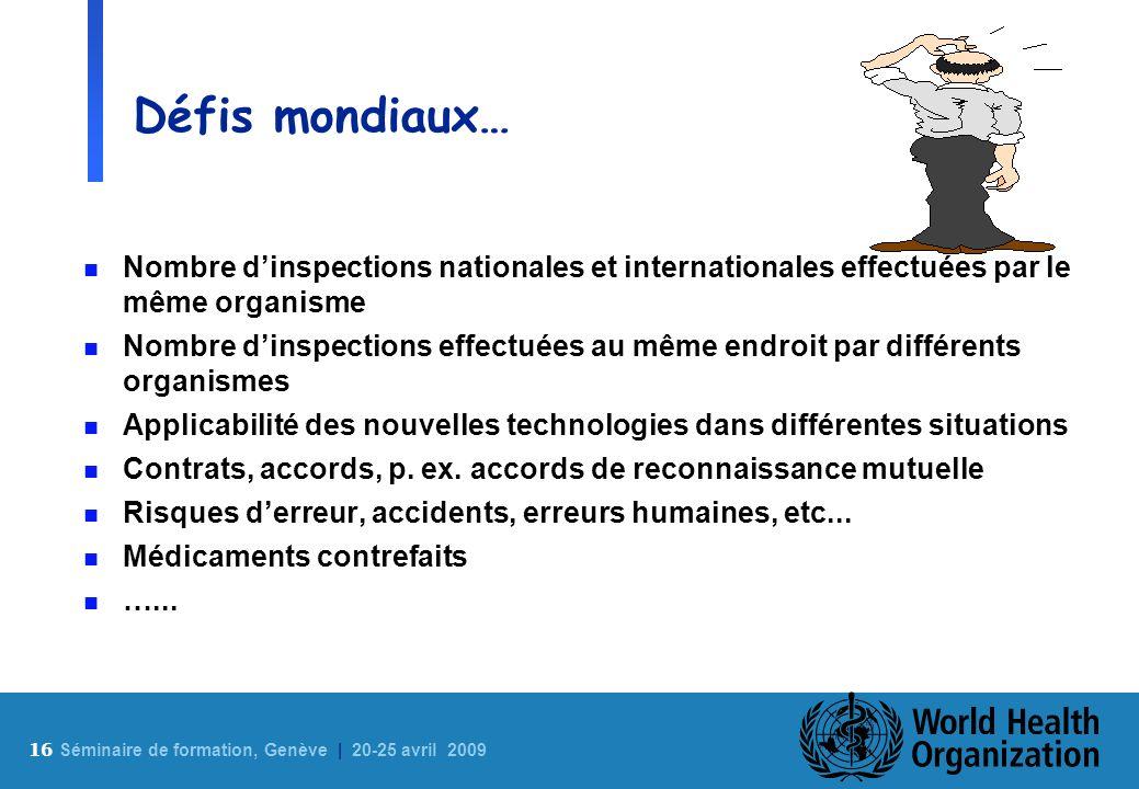 16 S éminaire de formation, Genève | 20-25 avril 2009 Défis mondiaux… n Nombre dinspections nationales et internationales effectuées par le même organ