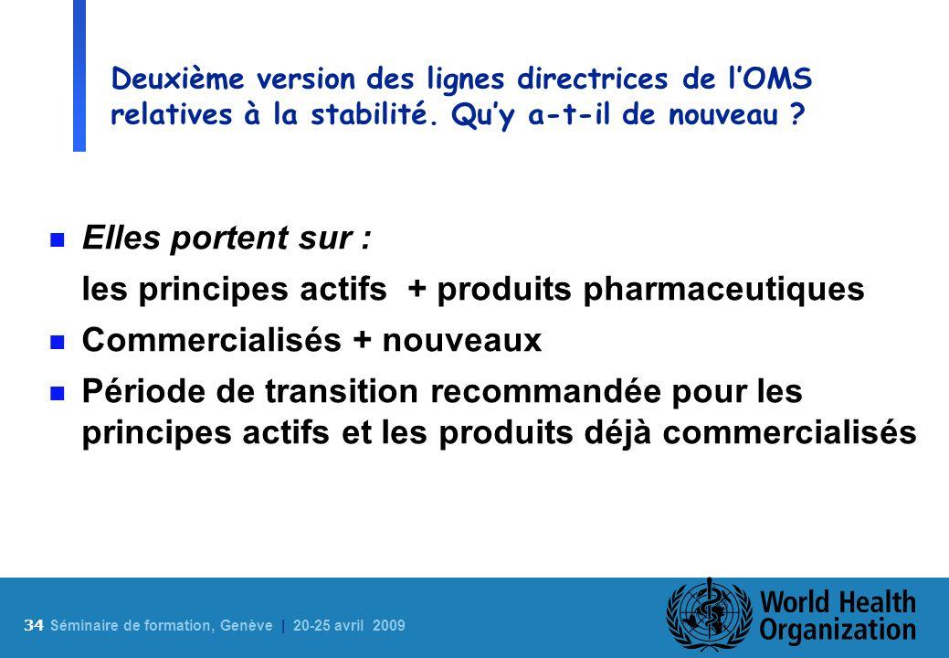 34 S éminaire de formation, Genève | 20-25 avril 2009 Deuxième version des lignes directrices de lOMS relatives à la stabilité. Quy a-t-il de nouveau