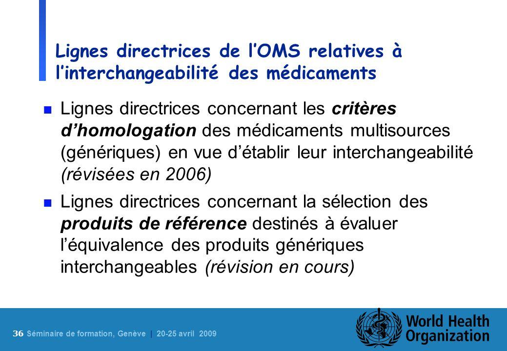 36 S éminaire de formation, Genève | 20-25 avril 2009 Lignes directrices de lOMS relatives à linterchangeabilité des médicaments n Lignes directrices