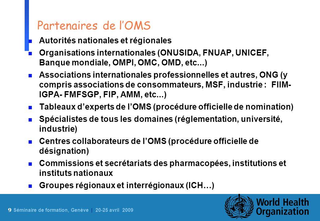 9 Sé minaire de formation, Genève | 20-25 avril 2009 Partenaires de lOMS n Autorités nationales et régionales n Organisations internationales (ONUSIDA