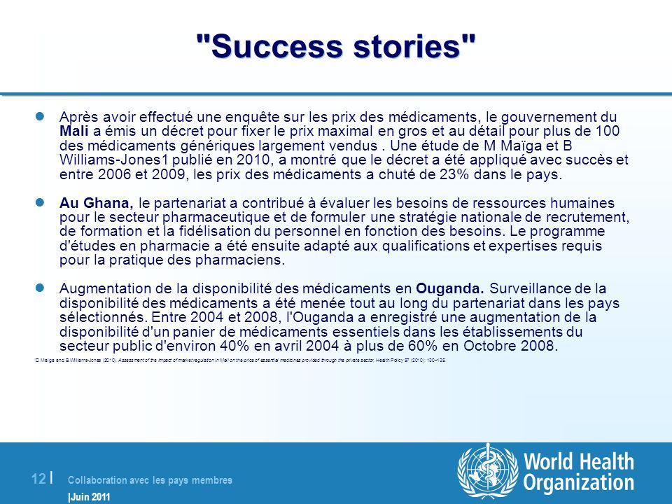 Collaboration avec les pays membres |Juin 2011 12 |