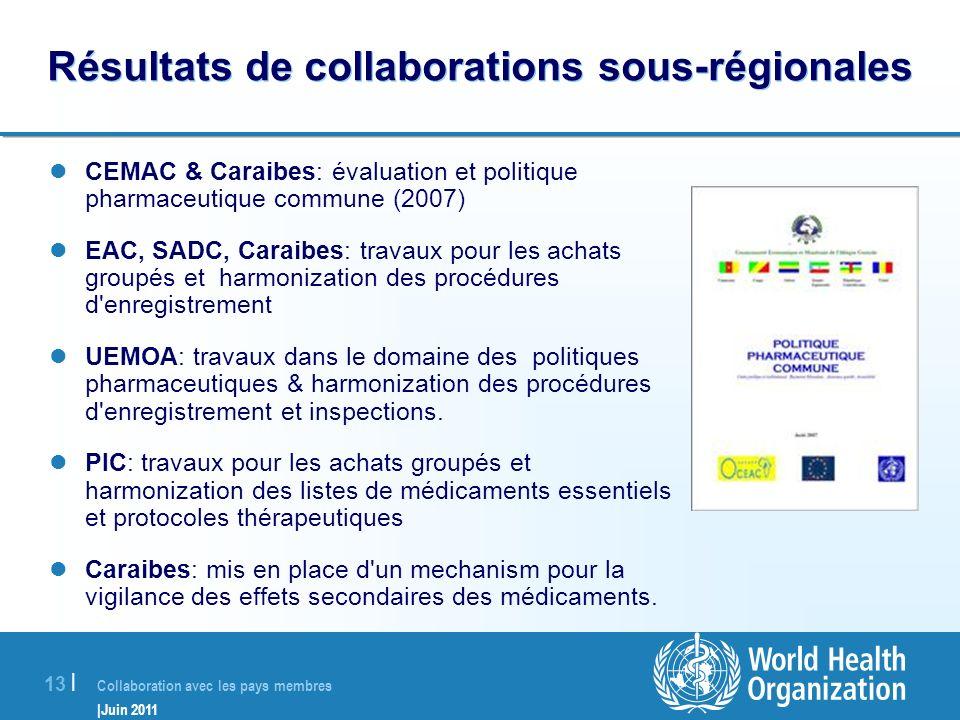 Collaboration avec les pays membres |Juin 2011 13 | Résultats de collaborations sous-régionales CEMAC & Caraibes: évaluation et politique pharmaceutiq