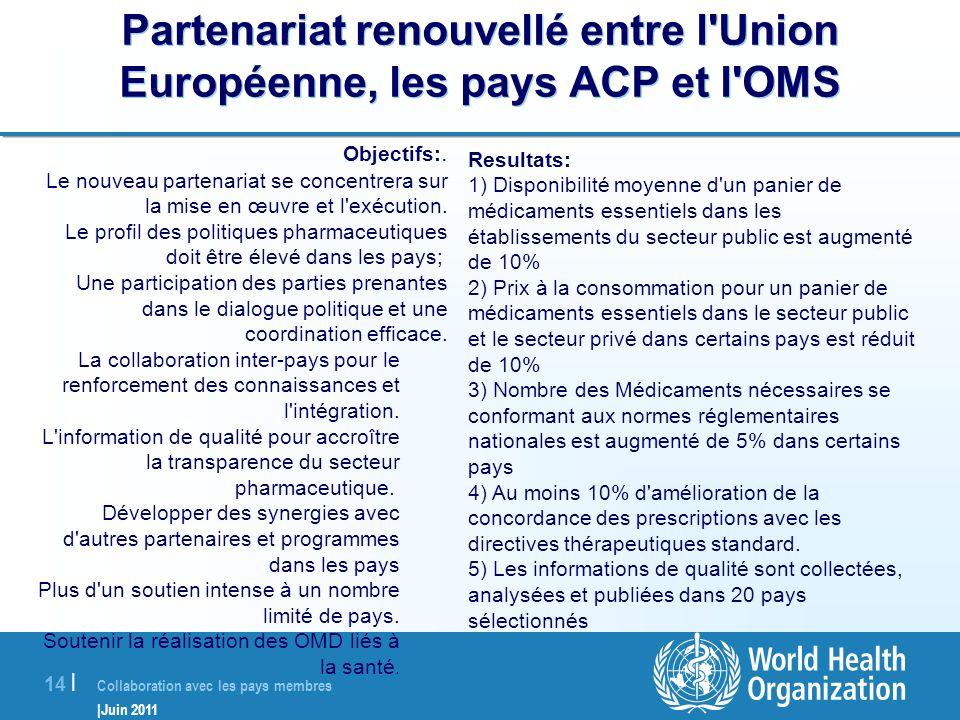 Collaboration avec les pays membres |Juin 2011 14 | Partenariat renouvellé entre l'Union Européenne, les pays ACP et l'OMS Objectifs:. Le nouveau part