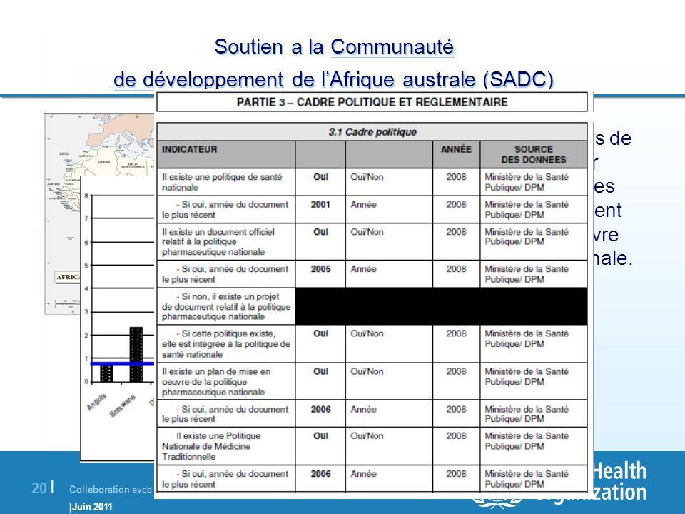Collaboration avec les pays membres |Juin 2011 20 | Soutien a la Communauté de développement de lAfrique australe (SADC) En 2009, l'OMS a soutenu les