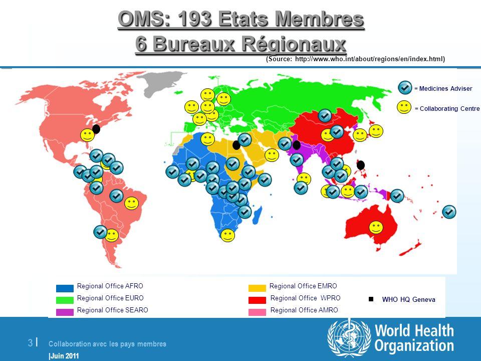 Collaboration avec les pays membres |Juin 2011 3 |3 | Regional Office AFRO Regional Office EMRO Regional Office EURO Regional Office WPRO Regional Off