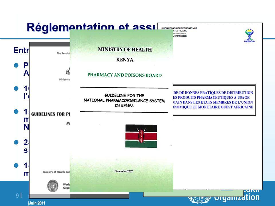 Collaboration avec les pays membres |Juin 2011 9 |9 | Réglementation et assurance de la qualité Entre 2004 et 2010: Plus de 30 pays ont reçu un appui