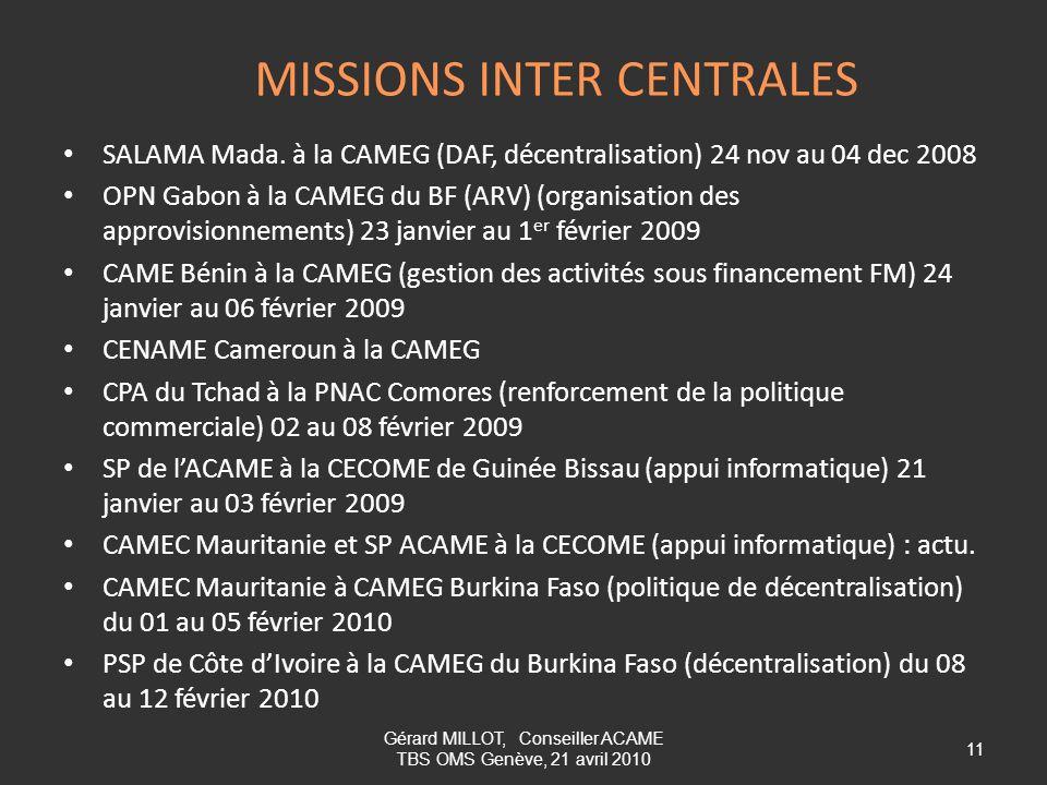 MISSIONS INTER CENTRALES SALAMA Mada. à la CAMEG (DAF, décentralisation) 24 nov au 04 dec 2008 OPN Gabon à la CAMEG du BF (ARV) (organisation des appr