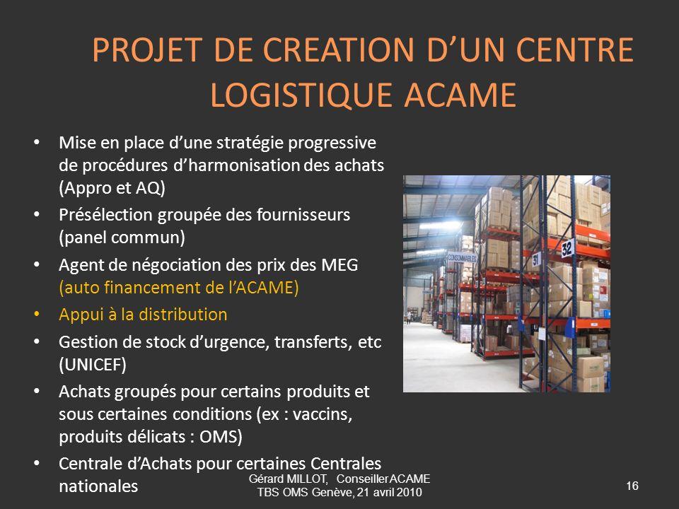 PROJET DE CREATION DUN CENTRE LOGISTIQUE ACAME Mise en place dune stratégie progressive de procédures dharmonisation des achats (Appro et AQ) Présélec
