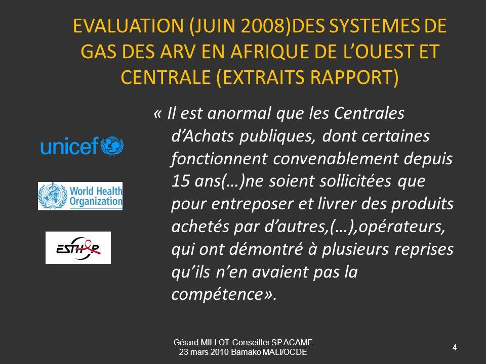 EVALUATION (JUIN 2008)DES SYSTEMES DE GAS DES ARV EN AFRIQUE DE LOUEST ET CENTRALE (EXTRAITS RAPPORT) « Il est anormal que les Centrales dAchats publi