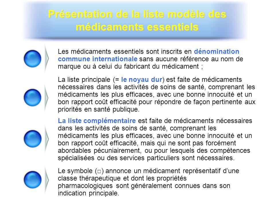 Présentation de la liste modèle des médicaments essentiels Les médicaments essentiels sont inscrits en dénomination commune internationale sans aucune