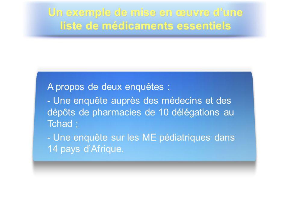 A propos de deux enquêtes : - Une enquête auprès des médecins et des dépôts de pharmacies de 10 délégations au Tchad ; - Une enquête sur les ME pédiat
