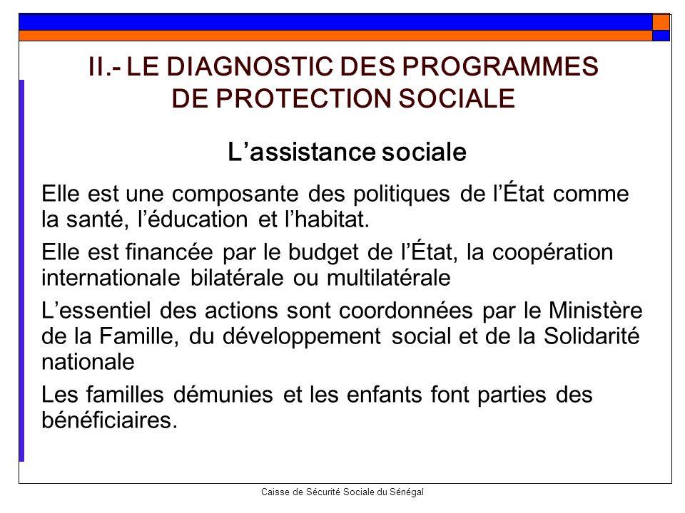 Caisse de Sécurité Sociale du Sénégal Lassistance sociale Elle est une composante des politiques de lÉtat comme la santé, léducation et lhabitat. Elle