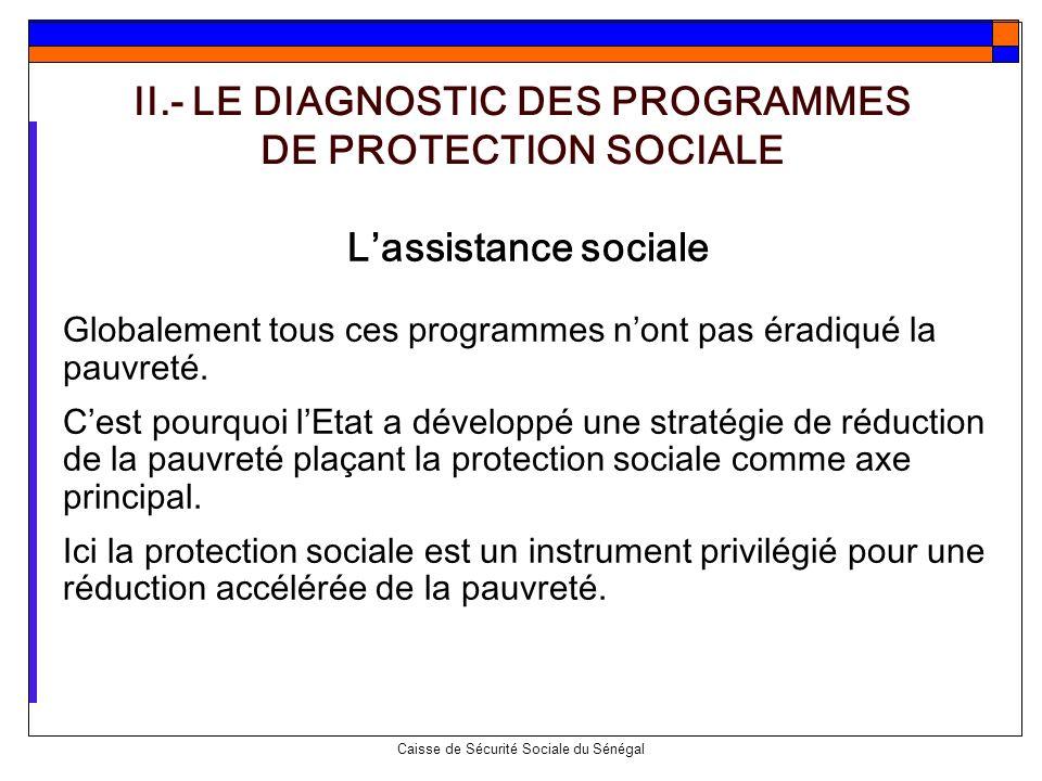 Caisse de Sécurité Sociale du Sénégal Lassistance sociale Globalement tous ces programmes nont pas éradiqué la pauvreté. Cest pourquoi lEtat a dévelop