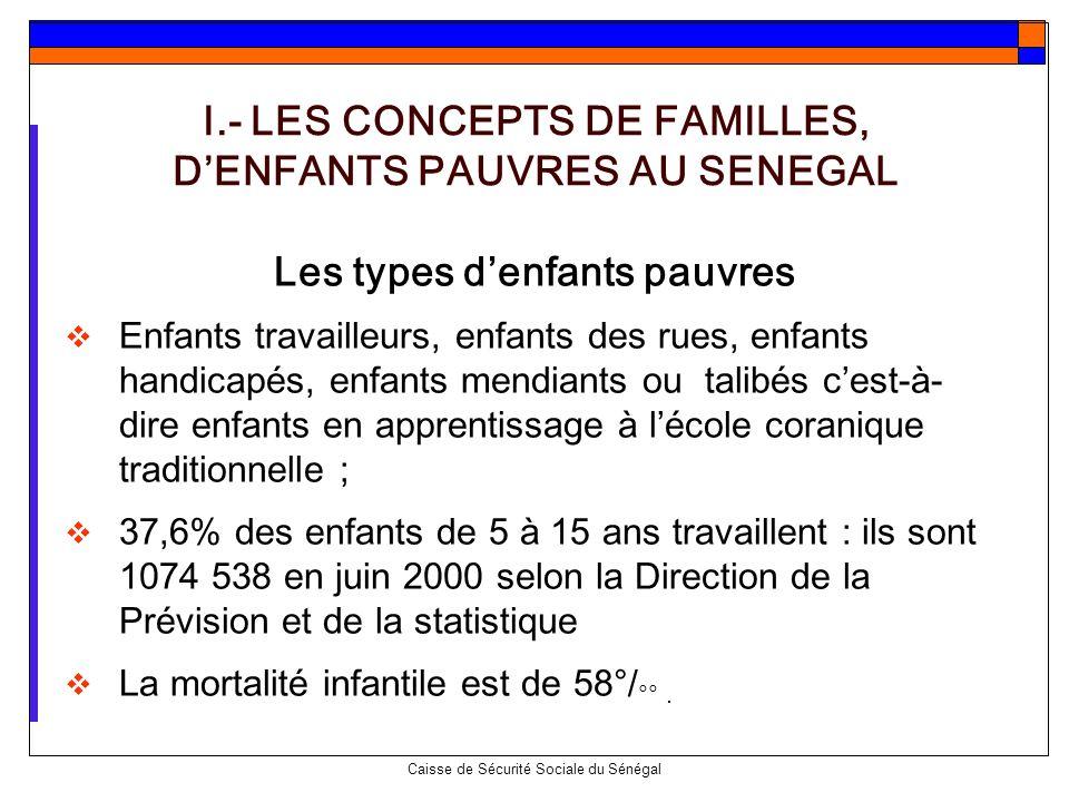 Caisse de Sécurité Sociale du Sénégal Les types denfants pauvres Enfants travailleurs, enfants des rues, enfants handicapés, enfants mendiants ou tali