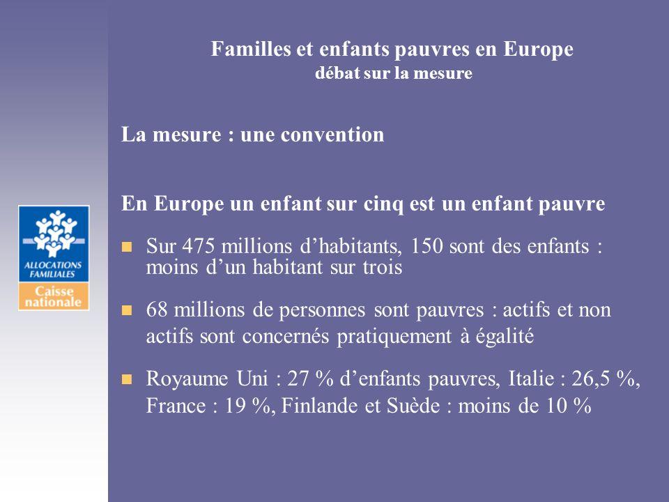 Familles et enfants pauvres en Europe débat sur la mesure La mesure : une convention En Europe un enfant sur cinq est un enfant pauvre n Sur 475 milli