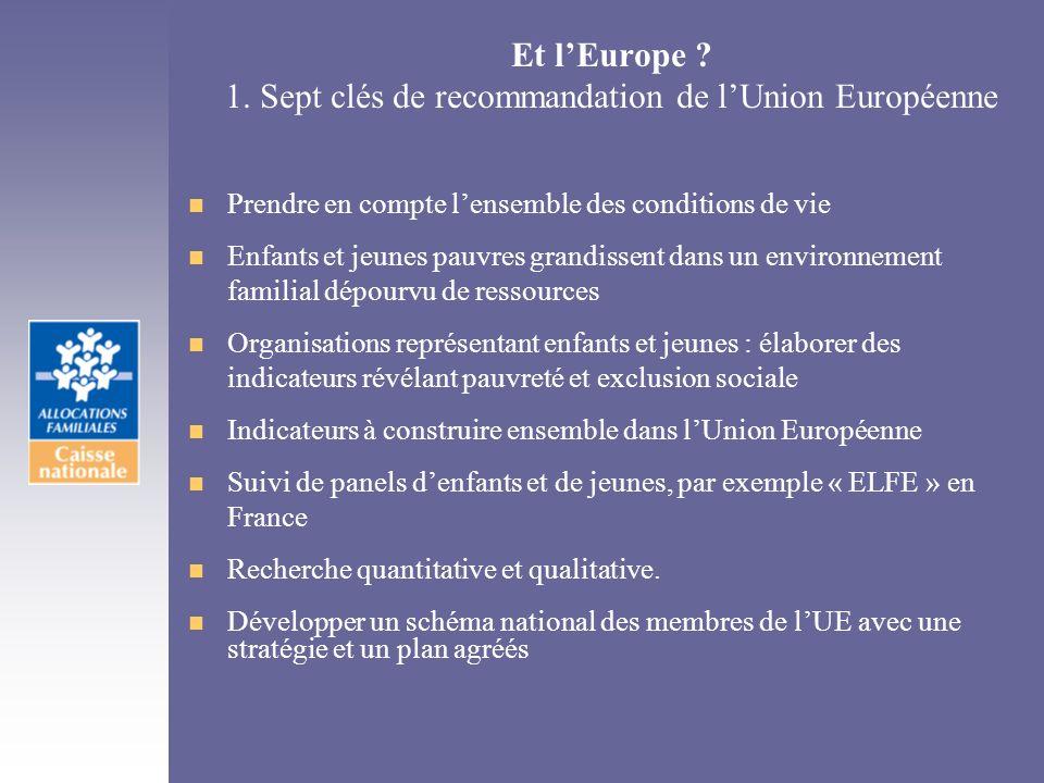 Et lEurope ? 1. Sept clés de recommandation de lUnion Européenne n Prendre en compte lensemble des conditions de vie n Enfants et jeunes pauvres grand