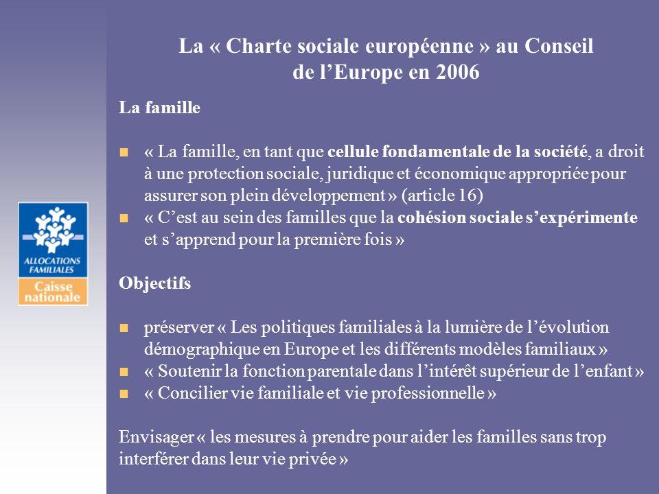 La « Charte sociale européenne » au Conseil de lEurope en 2006 La famille n « La famille, en tant que cellule fondamentale de la société, a droit à un