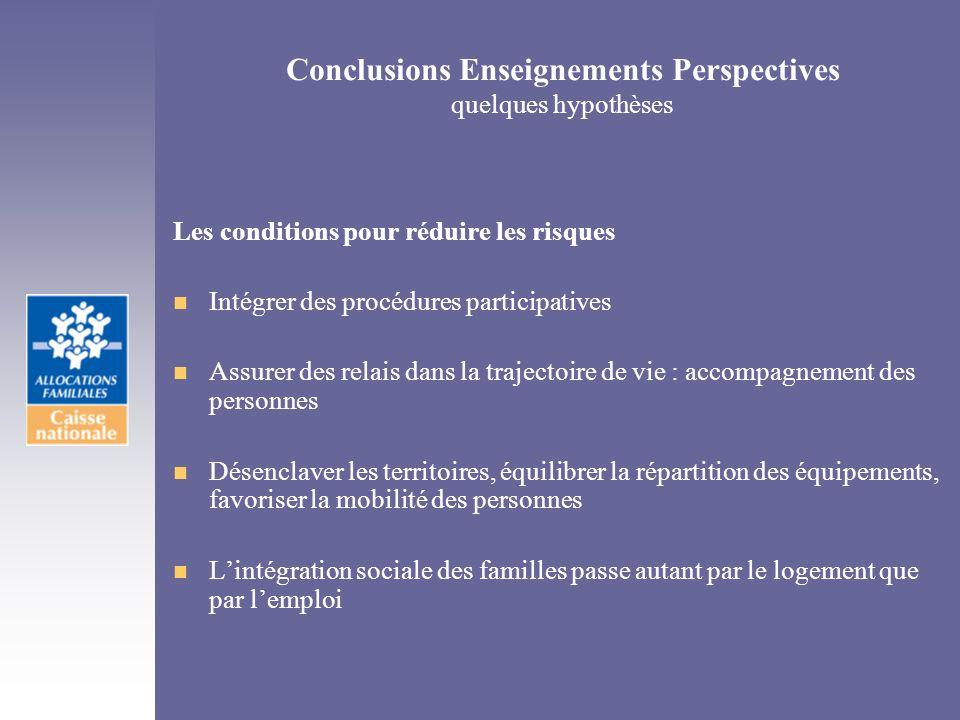 Conclusions Enseignements Perspectives quelques hypothèses Les conditions pour réduire les risques n Intégrer des procédures participatives n Assurer