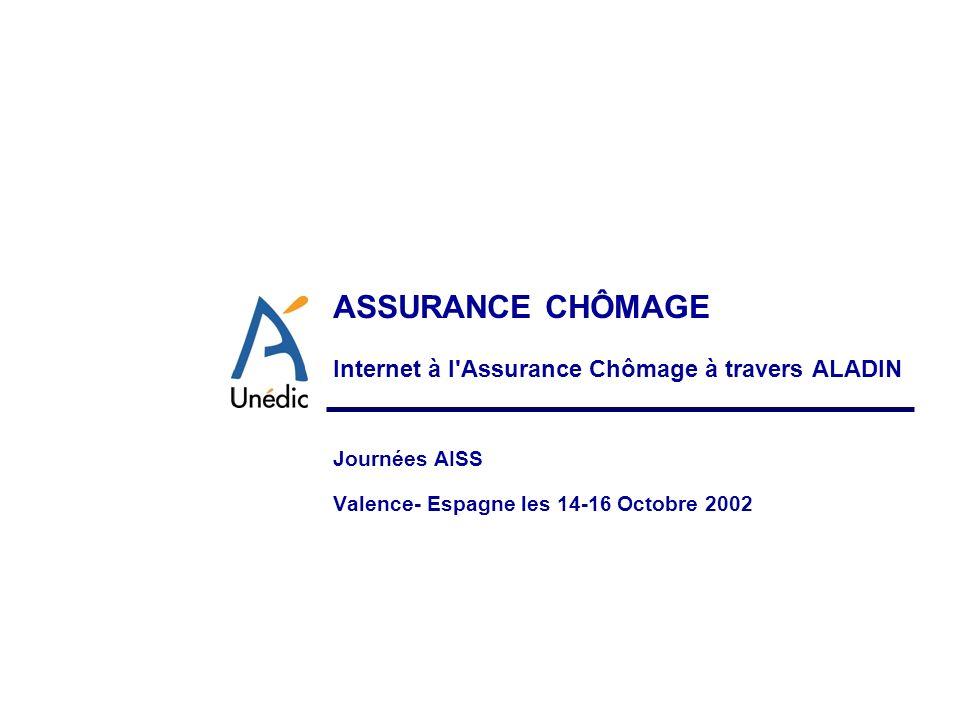 ASSURANCE CHÔMAGE Internet à l'Assurance Chômage à travers ALADIN Journées AISS Valence- Espagne les 14-16 Octobre 2002