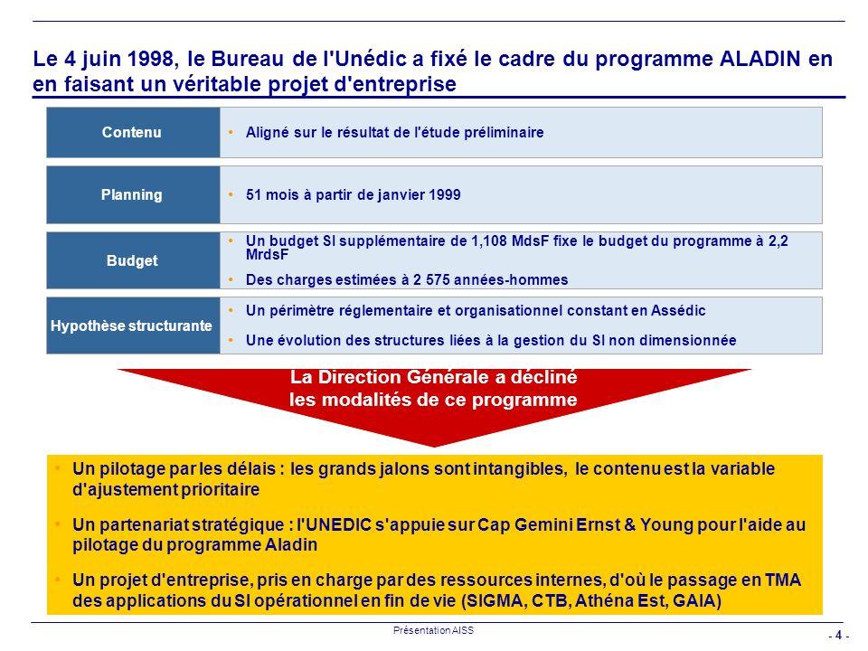 - 4 - Présentation AISS Le 4 juin 1998, le Bureau de l'Unédic a fixé le cadre du programme ALADIN en en faisant un véritable projet d'entreprise Align